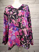 Vintage Topshop Floral Chiffon V Neck Shirt Blouse Early 90s Size UK 14