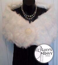 White Faux Fur Wrap Shrug Bolero Bridal Shawl w Beads by Lucy's Envy W103