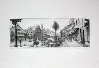 MANFRED SILLNER - Kelheim, Ludwigsplatz II. Handsignierte Radierung, gerahmt