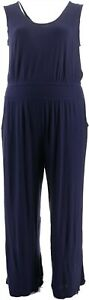 Lisa Rinna Collection Solid Wide Leg Jumpsuit Evening Navy S NEW A352109