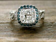 White Diamond 925 Silver Anniversary Ring Antique Vintage 2.60 Carat Cushion Cut