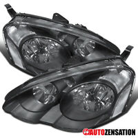 For 2002-2004 Acura RSX DC5 Black Clear Headlights Head Lamps Left+Right Pair