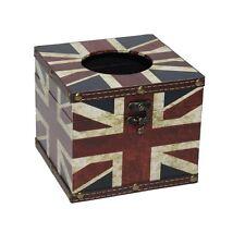 Vintage Union Jack Tissue Box Home Office Storage Square Retro Gift British Flag