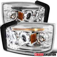 For 2005-2007 Dodge Dakota Clear Halo Projector Headlights Lamps+LED Strip 2006