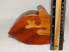"Vintage Carved Wood Puzzle Box Leaf -Frog Puzzle Jewelry Box Costa Rica-6.75"" wd"