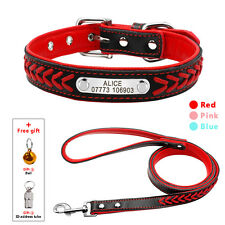Dog Collar & Leash Set Soft Padded Braided Leather Personalized Free Engrave