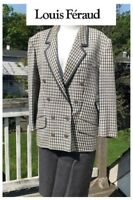 VINTAGE LOUIS FERAUD COUTURE GRAY CHECKED DOUBLE BREASTED  WOOL SKIRT SUIT SZ 12