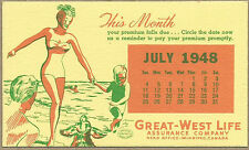 Vintage1948 Great-West Life Assurance Blotter - Winnipeg, MB NOS