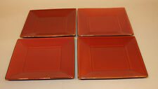 4 Pottery Barn Japan Asian Square Paprika Red 8-1/8 Inch Salad Plates