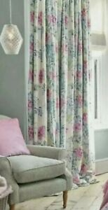 Laura Ashley curtains  COSMOS OF WHITE/GREY GREEN blackout lined 268cmW x 220cmL