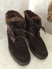 VICINI Brown Suede Leather Fur Trimmed Ankle Winter Boots Sz 38 Italy 6.5 u.s.