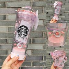 New 2020 China Starbucks Pink Sakura Cherry Small World Cat LED Water Cup 296ML