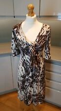 Biba UK 10 Tie Front Stretch Dress Everyday Work Marble Abstract Pattern