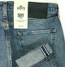 Levi's 501 Taper Selvedge Big E Blue Jeans Distressed Men 34x32  A10-7