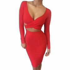 Long Sleeve Elastic Cotton Elegant Midi Pencil Bandage Bodycon Dress