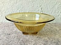 Vintage Mid-Century Federal Yellow Amber Glass Ribbed Mixing Bowl