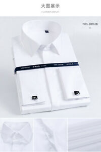 Mens French Cuff Shirts FormalButton Down Free Ironing Dress Multicolor Shirts
