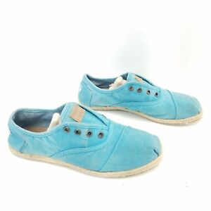 TOMS Cordones Canvas Casual Comfort Blue Slip On Shoes Womens Size 8