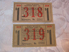 SAN DIEGO ELECTRIC RWY. CO. PASSENGER TICKETS  VINTAGE 1945  T*