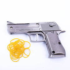 Brown Rubber Band Gun Foldable Metal Exquisite Desert Eagle Pistol Shape