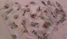 BNWT-Long Soft-Lilac/Green  Hearts on White Design Scarf-170 cm x 60 cm
