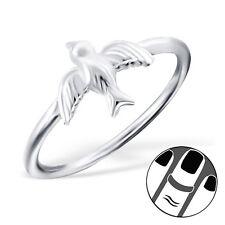 TJS 925 Sterling Silver Midi Ring Swallow Bird US Size 3.5 Fine Body Jewellery