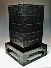 Exquisite Japanese Engraved Lacquer Stacking Box 1800s Jubako Bento Desk Antique