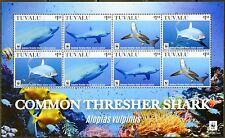 TUVALU  2016 COMMON  THRESHER SHARK WWF  SHEET OF EIGHT  MINT NH