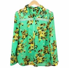 Kut from the Kloth Womens Blouse Size XS Floral Button Down Green Yellow