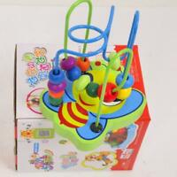 Newest Kids Baby Colorful Wooden Mini Around Beads Educational Game Toy