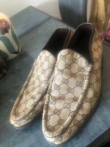 Mens Size 8/9 Monogram Gucci GG Shoes Loafter Driving Shoes