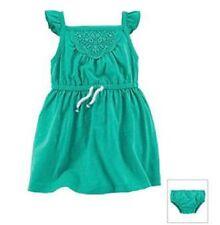 Carter's Size 12 Months Aqua Teal Green Sleeveless Dress Diaper Cover