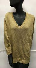 Lauren Ralph Lauren Women's Metallic Gold V-Neck Pullover Sweater Size 1X