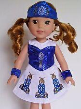 "Blue Irish Dance Dress Fits Wellie Wishers 14.5"" American Girl Clothes"