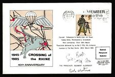 Great Britain #1026 Special Parachute Delivery Cover Crossing Rhine 1985 Signed