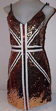 Women's Sz S Mini Dress Retro 60's Mod Union Jack Swingin' Gold Sequin Stretch