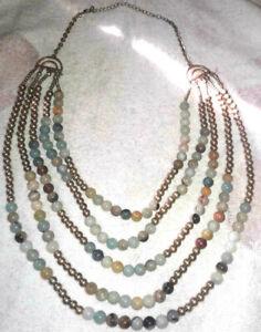 pretty natural amazonite stone gold tone beads multi strand necklace