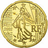 [#772189] France, 20 Euro Cent, 2002, BE, MS(65-70), Brass, KM:1286