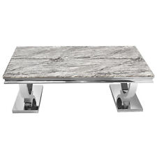 Modern Grey Marble Top Rectangle Coffee Table Tea Desk Home Office Furniture