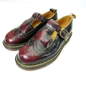 Vintage Dr. Martens England Made Arcadia Wingtip T Strap Mary Janes Red Size 7