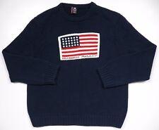RALPH LAUREN MENS XXL CREWNECK WINTER SWEATER BLUE RARE USA FLAG KNIT COTTON VTG