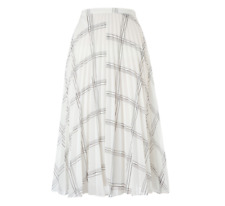 Whistles -- Ellie Grid Pleated Skirt - New With Tag - White - Size 10 - Women's