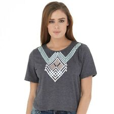 Firetrap Womens Cropped top T-Shirt Charcoal Marl size 14 large
