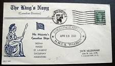 CANADA 1938 CACHET  VANCOUVER COVER THE KING'S NAVY H.M.C.S. FRASER