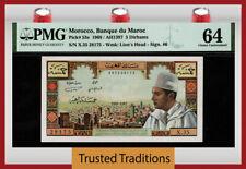 TT PK 53e 1968 MOROCCO BANQUE DU MAROC 5 DIRHAMS KING MUHAMMAD V PMG 64 CHOICE!