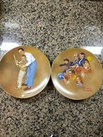 """Set of two 8-1/2"""" Plates by Norman Rockwell American Family Series II"""