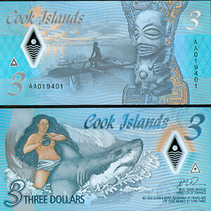 COOK ISLANDS NEW POLYMER BLUE NOTE 3 $ issue 2021 - UNC