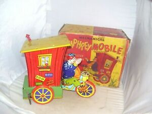 OLD CIRCA 1940's TIN LITHO WYANDOTTE TOYS HUMPHREYMOBILE WIND UP TOY W/BOX,WORKS
