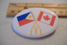 ~MCDONALDS~PHILIPPINE & CANADA FLAGS~OVAL BUTTON PIN~