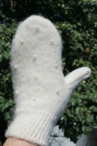 Women's thick warm winter MITTENS merino sheep yarn warm soft pearl